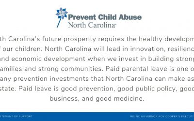 PCANC Applauds Governor Roy Cooper's Executive Order No. 95 on Paid Parental Leave as a Policy Measure That Can Save Lives of NC Children